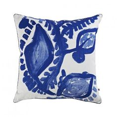 Bonnie and Neil Abstract Floral Blue Cushion 50cm | Bonnie and Neil – Salt Living or online at www.saltliving.com.au #saltliving #bonnieandneil #screenprinting #linen #cushion