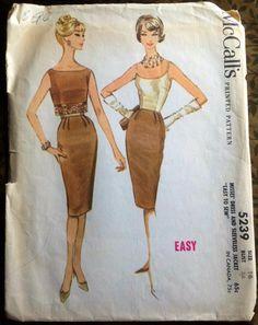Vintage McCall's Sheath Dress & Sleeveless Jacket Pattern / dated dress, large, lg, plus size 16 Jacket Pattern, Top Pattern, Mccalls Patterns, Sewing Patterns, Gored Skirt, Vintage Patterns, Vintage Sewing, Sleeveless Jacket, Costume Patterns