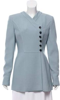 Blue-grey Valentino vintage jacket with V-neck, structured shoulders and asymmetrical button closures at front.