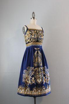 60s Sundress / Vintage 1960s Batik Cotton Dress / by HolliePoint, $64.00