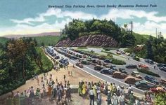 Great Smoky Mts. Nat'l Park, TN - General View of a Crowded Newfound Gap Parking Area