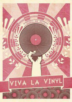 Viva La Vinyl music poster artwork. #music #musicart #records #vinyl #dj #djculture #djart http://www.pinterest.com/TheHitman14/dj-culture-vinyl-fantasy/