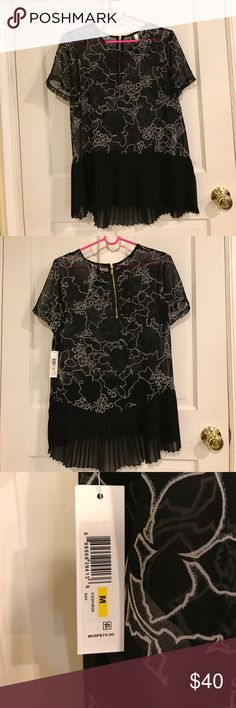 NWT Kenzie Women's medium sheer tunic /shirt. Brand new with tags. Retails for $80 plus tax. Beautiful black and white design! Kensie Tops Tunics