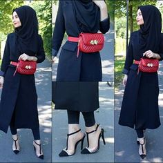our Opinions about this style ?☺️ it is the first time i am wearing a belly bag 🙈 Eure Meinung zu der Kombinations ? Modest Fashion Hijab, Casual Hijab Outfit, Muslim Fashion, Fashion Outfits, Hijab Evening Dress, Hijab Gown, Hijab Style Tutorial, Modele Hijab, Stylish Dresses For Girls