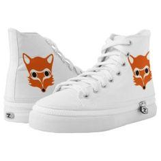 Fox illustration printed shoes   #shoes , #hightop , #printedshoes , #fox,