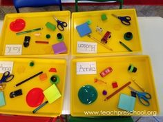 Let's Play the Put-Away Game! Learning where things belong in the preschool classroom by Teach Preschool: The Put Away Game Preschool First Week, Head Start Preschool, Welcome To Preschool, Head Start Classroom, Creative Curriculum Preschool, First Week Of School Ideas, All About Me Preschool, First Day Of School Activities, Beginning Of School