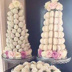 """""""Gorgeous Macaron & Strawberry Towers   @macaron_delights is your one stop shop for all your dessert buffet needs. Specialising in macarons, chocolate…"""""""