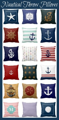 Nautical Throw Pillows for a fun beach or nautical home decor.  #nautical