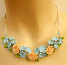 Light blue necklace  Roses  #Floral #jewelry  by #insoujewelry
