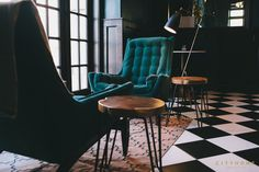 Interior design by cityhomeCOLLECTIVE. The new Finca restaurant in downtown Salt Lake City. #vintage #velvet #lounge #checkerboard #tile