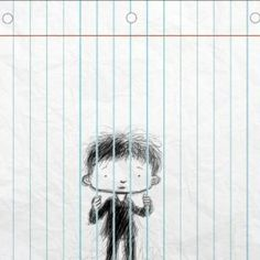 trapped behind the lines of a jotter! :D