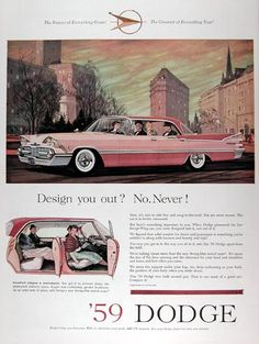 1959 Dodge Custom Royal Sedan vintage ad. When Dodge pioneered the low Swept-Wing car, you were designed into it, not out of it. Ride low and snug to the ground. Comfort stages a comeback. You get oversize doors, unobstructed entrance and Dodge's new Swing Out swivel seats.