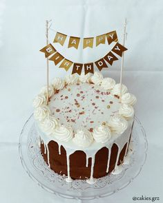 chocolate drip cake #birthdaycake #drip #dripcake #happybirthday #nakedcake Fondant, Chocolate Drip Cake, Happy Birthday, Birthday Cake, Drip Cakes, Desserts, Food, Kuchen, Happy Brithday