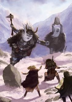 Adventuring party attacked by frost giants wielding boulder and axe in a battlefield of winter