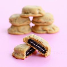 oreo stuffed peanut butter cookies.  {please don't turn me into weight watchers... i promise i'm not really making all of these recipes!  well... maybe this one... with halloween oreos : ) }