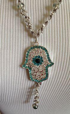 Beaded macrame hamsa lariat necklace w filigree silver tone & turquoise rhinestone hamsa by goldenhandscreations, $68.00 Free shipping everywhere