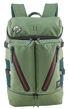 Nixon A-10 Boba Fett Pack-- Boba Fett graphics, Star Wars branding and bounty hunter green coloring adorn this top-loading 16.5-liter daypack from Nixon. It also features a side-entry laptop compartment, external mesh pockets, and custom Han Solo zipper pulls.