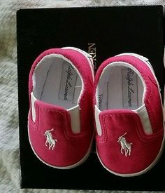 Infant Crib shoe size 2 Ralph Lauren Polo pink and white brand new w/box Authen.