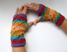 Fingerless Mittens Rainbow Ripple Whipped Design Crochet Microfiber Sock Yarn