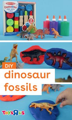 This fossil activity for kids is such a roarin' fun time. And some modeling clay, dinosaur toys and colored school glue is all it takes! #dinosaurthemediy #fossilactivitiesforkids #dinosaur #jurassicpark #melissaanddoug