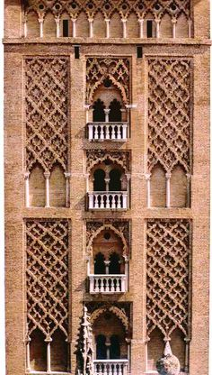 Detail of La Giralda belltower in Seville, Spain