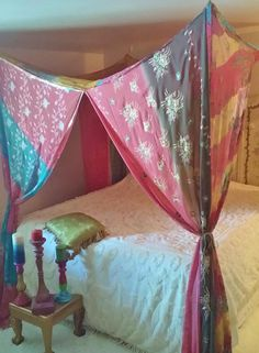 bed canopy bohemian bed canopy gypsy bedroom boho bedroom decor pink bed canopy india fabric canopy boho bed canopy boho bed curtain - Multi Canopy Decor
