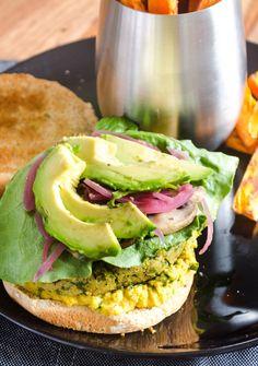 Curry/Chickpea/Kale Veggie Burgers + Baked Sweet Potato Fries (Vegan): A Little Baker