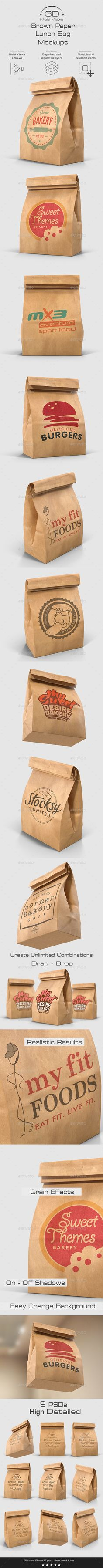 Brown Paper Lunch Bag Mockups - 3D Multi Views by Media_Variety  Features : 9 Psd files Drag and Drop from file to another and create unlimited scenes Smart objects, easy to paste your designFul
