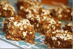 almond butter banana breakfast bars - great topped with more almond butter
