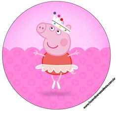Rótulo Latinhas, Tubetes e Toppers Peppa Pig Bailarina: