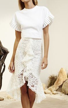 Marcello White Ruffled Lace Skirt by ALEXIS for Preorder on Moda Operandi