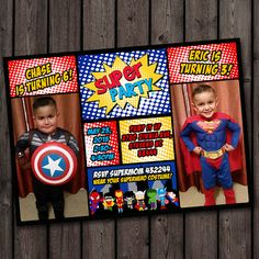 double party superhero invitation, twins, brothers, superhero birthday invitations, tons to choose from