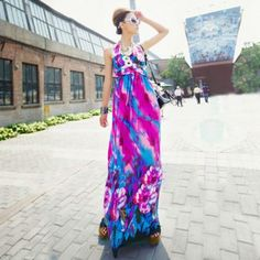 $16.53 Bohemian Colorful Halter and High Waist Long Dress For Women
