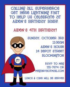 Superhero birthday party invite!  Got for Jake's 4th birthday!