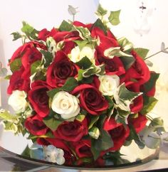 Bridal Bouquet with Red Roses... by Emma Hall Designs