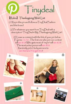 "#Thanksgiving❤The contest is going on,  hurry to participate to win big prize. 【Rules】❤Thanksgiving Wish List   1.Repin this pin and follow us http://www.pinterest.com/tinydealfashion and this board 2.Pin whatever you want from http://www.tinydeal.com/ with a description "" TinyDeal #My Thanksgiving Wish List"".  3. Leave a comment with the link of your pin below. Expries 11/21."