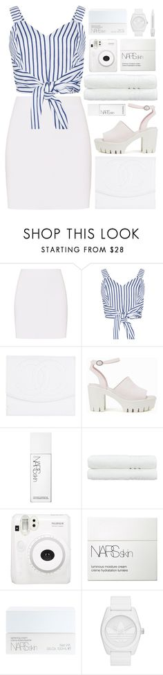 """""""sand, salt, sea"""" by charli-oakeby ❤ liked on Polyvore featuring Helmut Lang, WithChic, Chanel, Nly Shoes, NARS Cosmetics, Linum Home Textiles, Fuji, adidas Originals and Sephora Collection"""