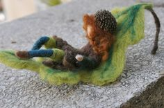 Needle Felted Waldorf Leaf Acorn child- -Autumn-Waldorf and Sibylle von Olfers inspired -soft sculpture-needle felt by Daria-Made to order