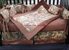 New 7 piece Max 4 brown real tree CAMOUFLAGE baby crib bedding set w/ brown minky dot fabric camo on Etsy, $325.00