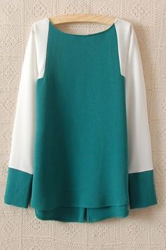 Colorblocking Panels Back Button Blouse