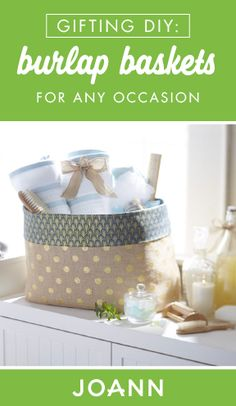 Gift baskets are a favorite for a reason! Check out these DIY Burlap Baskets from JOANN to set the stage for spa-themed gifts, hostess presents, and more. Burlap Projects, Burlap Crafts, Easy Sewing Projects, Sewing Hacks, Sewing Tutorials, Sewing Crafts, Sewing Ideas, Diy Projects, Sewing Baskets