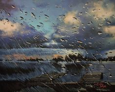 Rainy windshield lake painting by straewefin