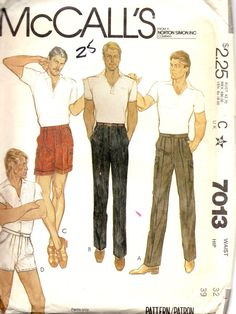 a0b7853980e19 McCalls 7013 1980s Mens Pleated Pants and Cuffed Shorts Pattern Adult Teen  Vintage Sewing Pattern Waist 32 Hip 39 UNCUT