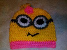 Crochet Minion hats-childrens beanie, handmade minion hats-childrens hats-winter hat-Handmade crochet minion beanies for children, Outerwear by WhiteRiverWillows on Etsy