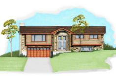 This rendering shows a possible exterior remodel for this true split-level home. (Renovation Design Group)