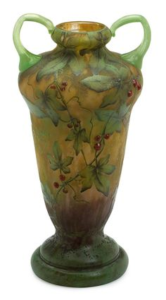 Daum acid-etched, enameled and applied cameo glass vase Nancy, France, circa 1910 Signed Daum Nancy with Cross Lorraine to body.
