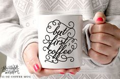 Coffee Mug Ceramic mug quote mug but first coffee mugs Printable Wisdom unique coffee mug gift coffee lover typographic calligraphy by PrintableWisdom on Etsy White Coffee Mugs, Unique Coffee Mugs, Funny Coffee Mugs, Coffee Cups, Drink Coffee, Coffee Coffee, Coffee Lover Gifts, Coffee Lovers, But First Coffee