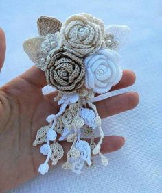 Your place to buy and sell all things handmade Freeform Crochet, Irish Crochet, Crochet Doilies, Crochet Flowers, Crochet Lace, Crochet Bouquet, Paper Clip Art, Crochet Gifts, Crochet Accessories
