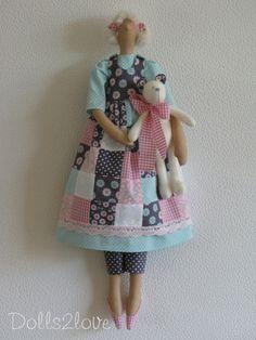 Muñeca Tilda Romero una menta verde suave rosa y por Dolls2love