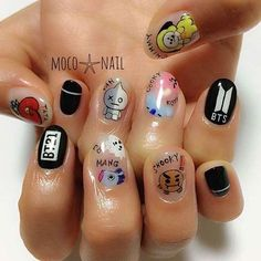 Résultat d'image pour bts love yourself nails – Ongles K Pop Nails, Love Nails, Pretty Nails, Korean Nail Art, Korean Nails, Army Nails, Nail Design Glitter, Kawaii Nails, Bts Love Yourself